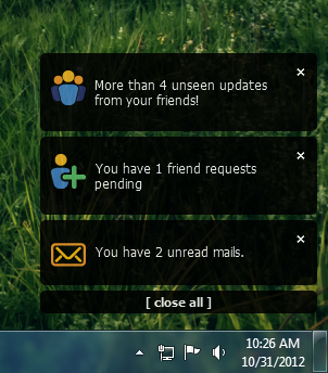 Elgg app user notifications
